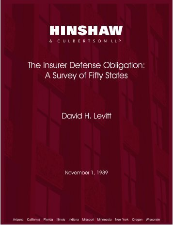 The Insurer Defense Obligation: A Survey of Fifty States