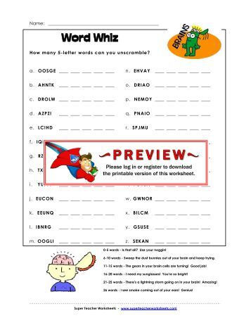 Printables Answers To Super Teacher Worksheets answer key page 2 of 5 letter word whiz medium difficulty super teacher worksheets