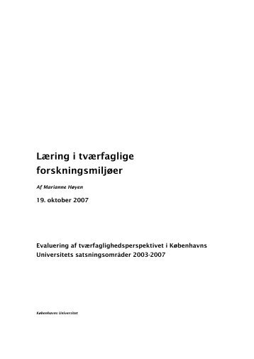 Læring i tværfaglige forskningsmiljøer - Marianne Høyens www