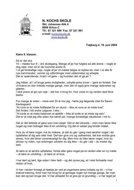 Tale Til Sommerafslutning 2004 N Kochs Skole