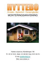 MONTERINGSANVISNING - Hyttebo Original AS