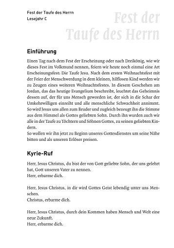 Fest der Taufe des Herrn (7. 1. 2007) - Schwabenverlag