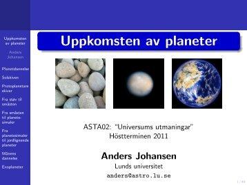 Uppkomsten av planeter - Lunds universitet
