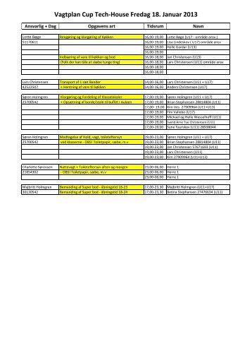 Vagtplan Cup Tech_house 2013 opdateret udgave.xlsx - Floorball