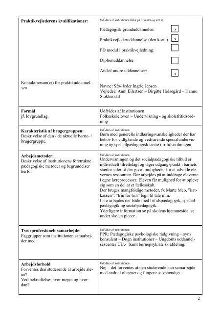 Praktikbeskrivelse - Djurslandsskolens hjemmeside