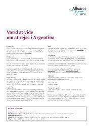 Værd at vide om at rejse i Argentina - Albatros Travel