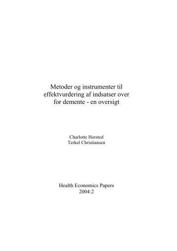 Metoder og instrumenter til effektvurdering af indsatser over for ...