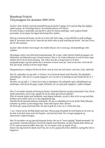 Tilsynsrapport for 2009 - Branderup Friskole