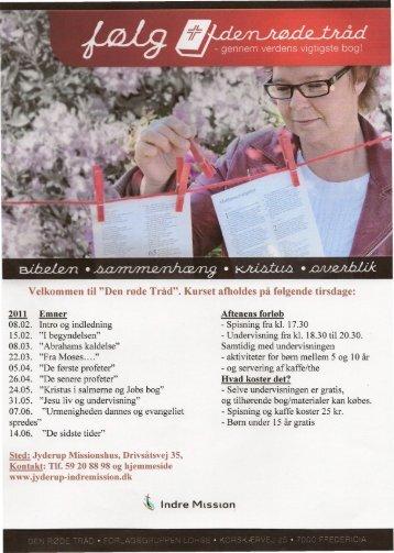 """Velkommen til """"Den røde Tråd"""". Kurset afholdes på følgende tirsdage:"""