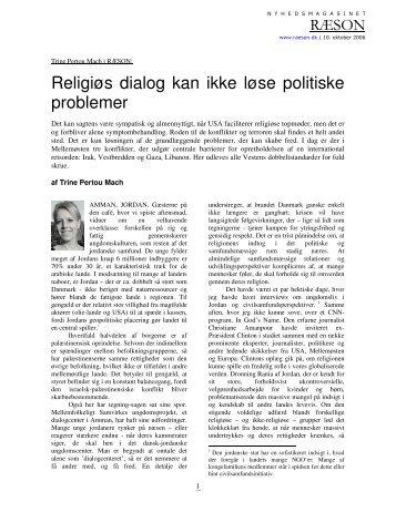 Religiøs dialog kan ikke løse politiske problemer - Ræson