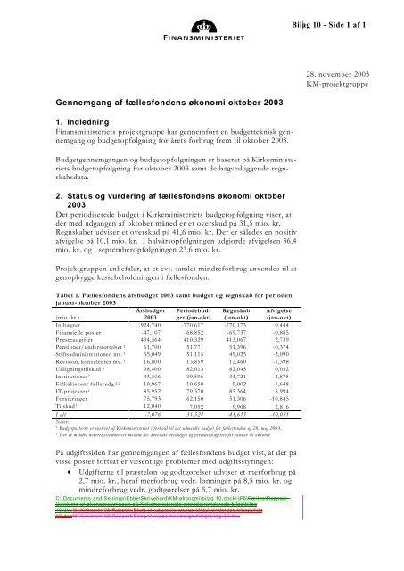 budgetopfølgningen oktober 2003 - Kirkeministeriet