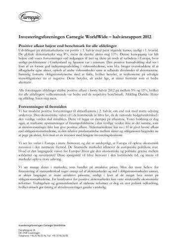 Investeringsforeningen Carnegie WorldWide – halvårsrapport 2012