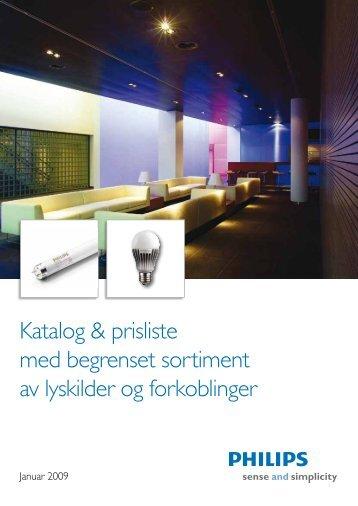 Katalog & prisliste med begrenset sortiment av lyskilder og ...