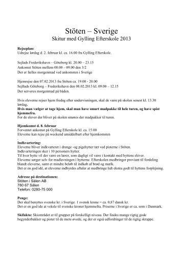 Skitur til Sverige, rejseplan - Gylling Efterskole