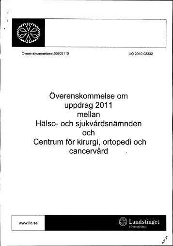 Överenskommelse - Landstinget i Östergötland
