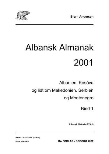 Albansk Almanak 2001 Indholdsoversigt - BA Forlag