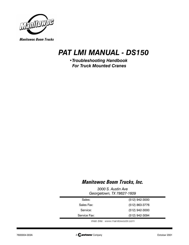 Manitex Manual 2001 Ford F150 8211 F250 Instrument Panel Fuse Box Diagram Truck Rh Cranehotline Com Array 10 Free Magazines From Yumpu