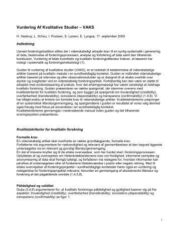Vurdering af kvalitativ forskningslitteratur - DaSyS