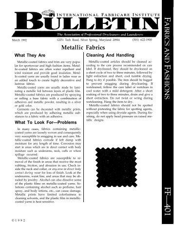 IFI Bulletin - Fabrics & Fashions -- No. 401 - Metallic Fabrics