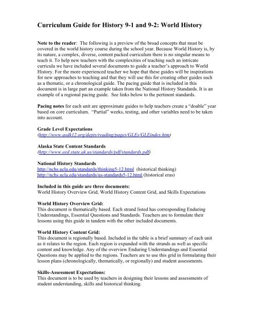 Curriculum Guide for History 9-1 and 9-2: World History