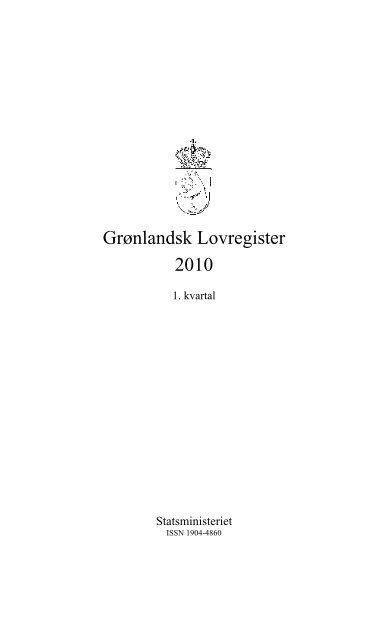 Grønlandsk Lovregister 2010 - 1. kvartal - Statsministeriet