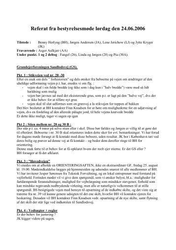 Referat fra bestyrelsesmøde lørdag den 24.06.2006 - sandlodsvej.dk