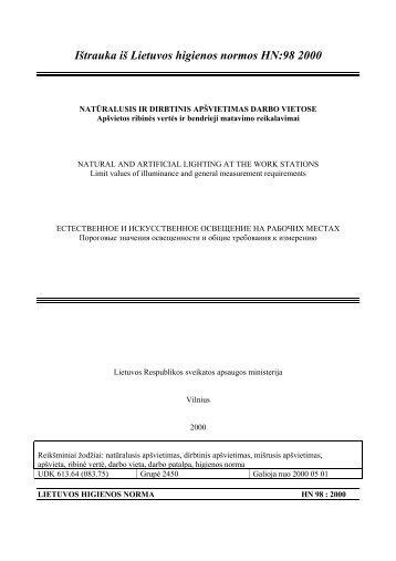 Ištrauka iš Lietuvos higienos normos HN:98 2000