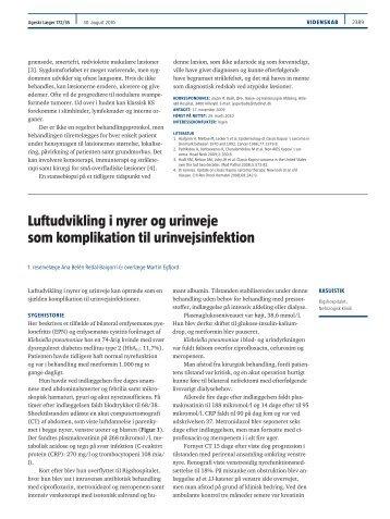 Luftudvikling i nyrer og urinveje som komplikation til urinvejsinfektion