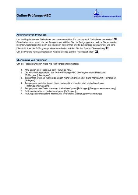 Online-Prüfungs-ABC - ABC-Vertriebsberatung GmbH