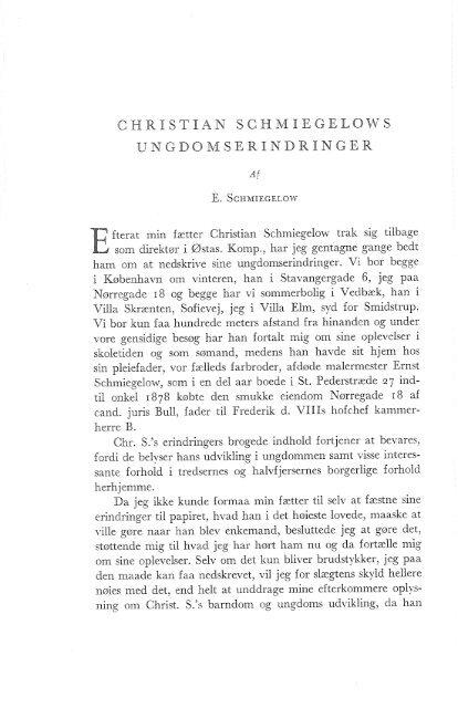 Christian Schmiegelows ungdomserindringer, s. 22-55