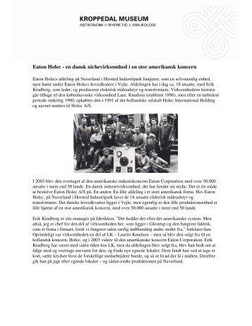 Eaton Holec - en dansk nichevirksomhed i en stor amerikansk koncern