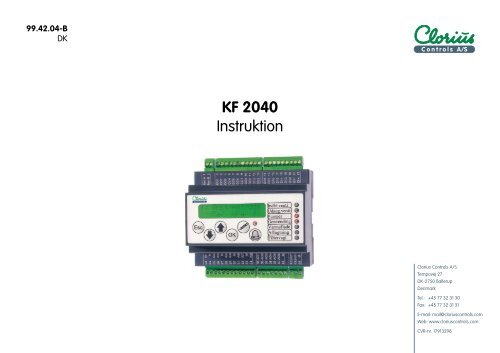 Regulator KF 2040, Instruktion 99.42.04 DK - Clorius Controls