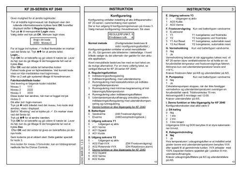 Regulator KF 2040, Instruktion 99.42.04 DK - Clorius Controls