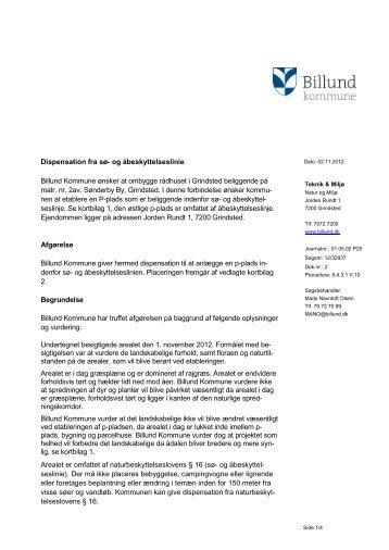 Dispensation fra åbeskyttelseslinje, Grindsted ... - Billund Kommune