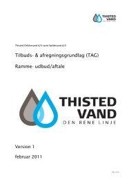 Paradigma for TAG baseret på udbudet i januar 2006 - Thisted vand