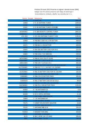 Prisliste 20 marts 2013 Priserne er angivet i danske kroner ... - Betafon