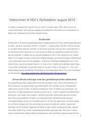 Velkommen til NGI´s Nyhedsbrev august 2010 - Nordisk Gestalt Institut