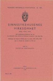 SINNSYKEHUSENES VIRKSOMHET 1943, 1944, 1945 - SSB
