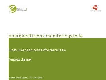 Dokumentationserfordernisse - Energieeffizienz Monitoringstelle