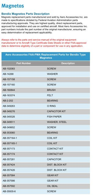 Download FAA-PMA Replacement Parts for Bendix     - Aircraft