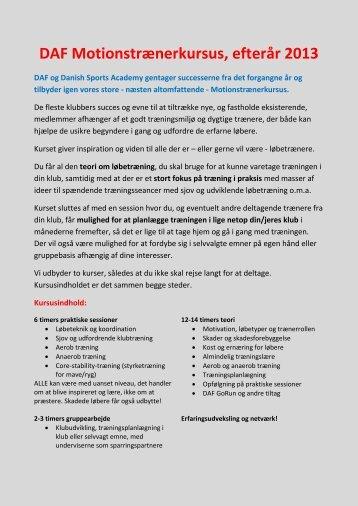DAF Motionstrænerkursus, efterår 2013 - MotionDANMARK