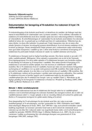 Dokumentation for beregning af N-reduktion fra ... - NP-Risikokort.dk