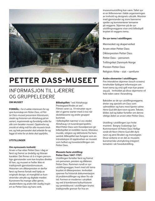 Sist endret juni 2009 - Petter Dass-museet