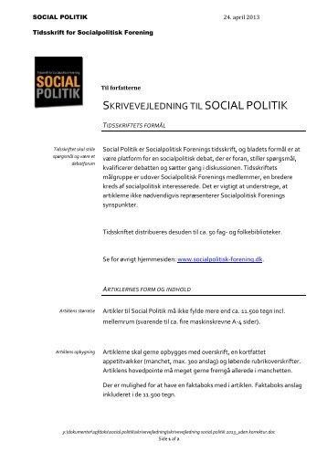 Skrivevejledning til SOCIAL POLITIK - Socialpolitisk Forening