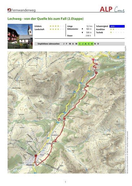 Lechweg Karte.Fernwanderweg Lechweg Von Der Quelle Bis Zum Fall 2 Etappe