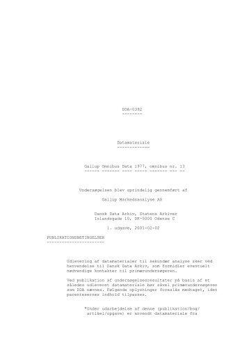 Gallup Omnibus Data 1977, omnibus nr. 13 - DDA Samfund - Dansk ...
