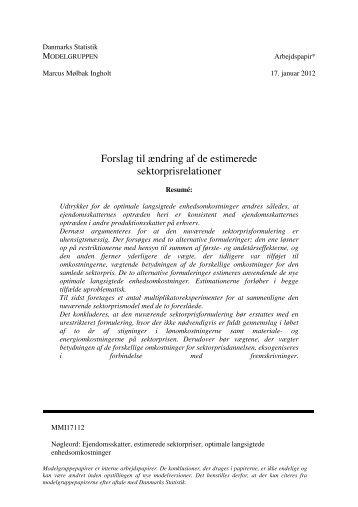 Forslag til ændring af de estimerede sektorprisrelationer - Danmarks ...