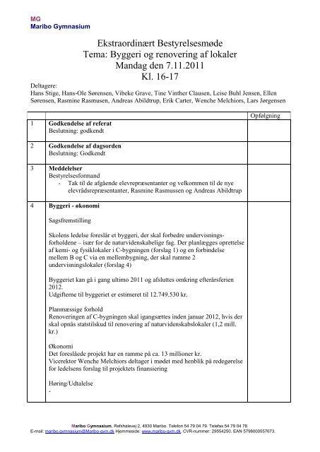 Referat af bestyrelsesmøde 7/11-2011 - Maribo Gymnasium