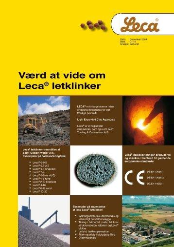 Værd at vide om Leca® letklinker - Weber