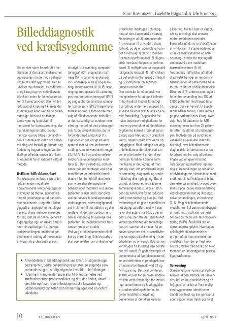 Billeddiagnostik ved kræftsygdomme - Foreningen af Radiografer i ...